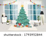 Living room interior decorated for the Christmas holiday. Christmas tree with gifts inside the house, modern interior with furniture and a window. Flat vector illustration
