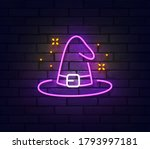 Witch Hat Neon Sign. Glowing...
