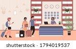 people in hotel reception...   Shutterstock .eps vector #1794019537