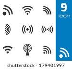 vector black wireless icons set ... | Shutterstock .eps vector #179401997