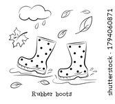 rubber boots walk in puddles.... | Shutterstock .eps vector #1794060871
