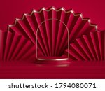 3d Render  Abstract Red...