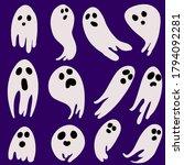 set ghost halloween icons art...   Shutterstock . vector #1794092281