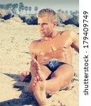 handsome young man relaxing in...   Shutterstock . vector #179409749