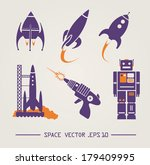 flat future vintage space... | Shutterstock .eps vector #179409995