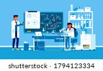two scientists working at... | Shutterstock .eps vector #1794123334