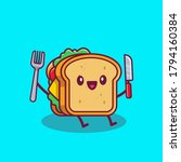 cute sandwich holding knife and ... | Shutterstock .eps vector #1794160384