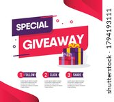 giveaway social media contest... | Shutterstock .eps vector #1794193111
