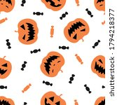 halloween seamless pattern with ... | Shutterstock .eps vector #1794218377