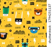 childish seamless pattern with... | Shutterstock .eps vector #1794251137