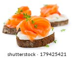 Canapes With Salmon Isolated O...