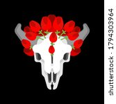 skull cow and flowers isolated. ...   Shutterstock .eps vector #1794303964