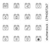 calendar page line icons set ...