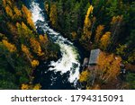 Aerial View Of Fast River With...