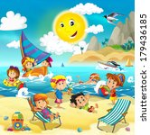 the kids playing at the beach ... | Shutterstock . vector #179436185
