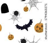 halloween seamless pattern on...   Shutterstock . vector #1794363271