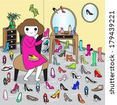 shoe addiction  a woman can... | Shutterstock .eps vector #179439221