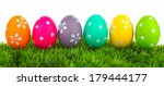 Row Of Easter Eggs On Grass...