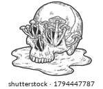human skull with growing... | Shutterstock .eps vector #1794447787