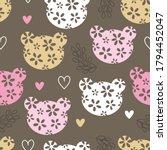 Floral Pattern Teddy Bear Head...