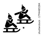 children are sledding icon....
