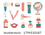 set of barber tools and hair...   Shutterstock .eps vector #1794510187