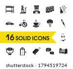 hotel icons set with free...