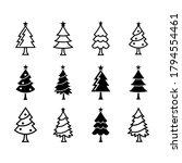 christmas tree vector icons set | Shutterstock .eps vector #1794554461
