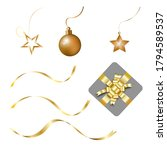 golden christmas ornaments icon ... | Shutterstock .eps vector #1794589537