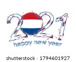 happy new 2021 year with flag... | Shutterstock .eps vector #1794601927