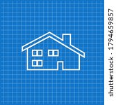blue banner with cottage icon.... | Shutterstock .eps vector #1794659857