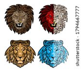 lion head.drawing and sketch in ... | Shutterstock .eps vector #1794667777