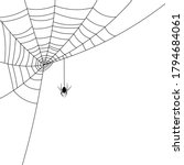 black spider hanging down from... | Shutterstock .eps vector #1794684061
