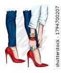 long slender legs in tight... | Shutterstock .eps vector #1794700207