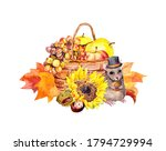 Basket With Autumn Leaves ...
