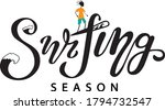 surfing lettering with waves... | Shutterstock .eps vector #1794732547