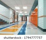 school corridor with lockers....   Shutterstock . vector #1794777757