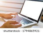 man shopping online using... | Shutterstock . vector #1794865921