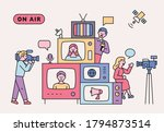 retro televisions are piled up. ... | Shutterstock .eps vector #1794873514