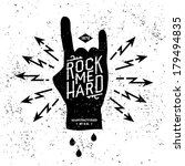 "vintage label ""rock me hard"" (T-Shirt Print)"