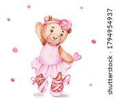 Cute Cartoon Bear Ballerina In...