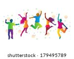 jumping people in bright... | Shutterstock .eps vector #179495789