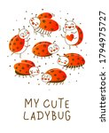 cute little ladybugs isolated... | Shutterstock .eps vector #1794975727