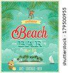 vintage beach bar poster.... | Shutterstock .eps vector #179500955