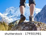 hiking boots on the rock in the ... | Shutterstock . vector #179501981