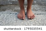 Close Up Shots Of Bare Feet ...