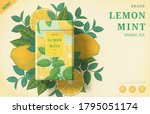 lemon mint tea ads with... | Shutterstock .eps vector #1795051174