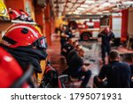 Closeup Of Firefighter Sitting...