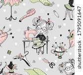 seamless pattern with cute... | Shutterstock .eps vector #1795091647