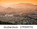 Busan, South Korea hazy sunset skyline. - stock photo